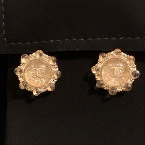 CHANEL CC Bubble Golden Shimmer Dome Stud Earrings